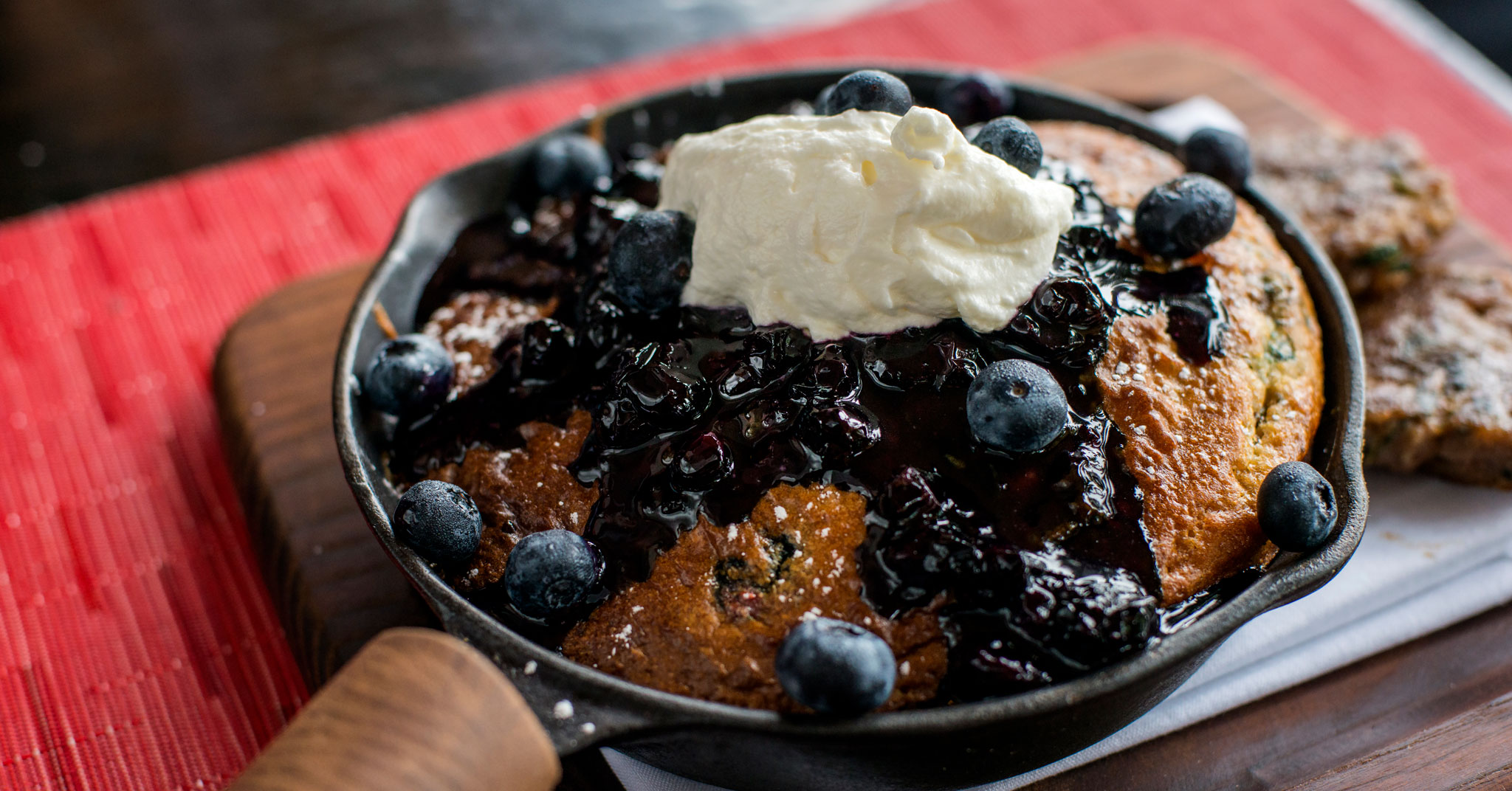 American Social Cast Iron Blueberry Pancakes